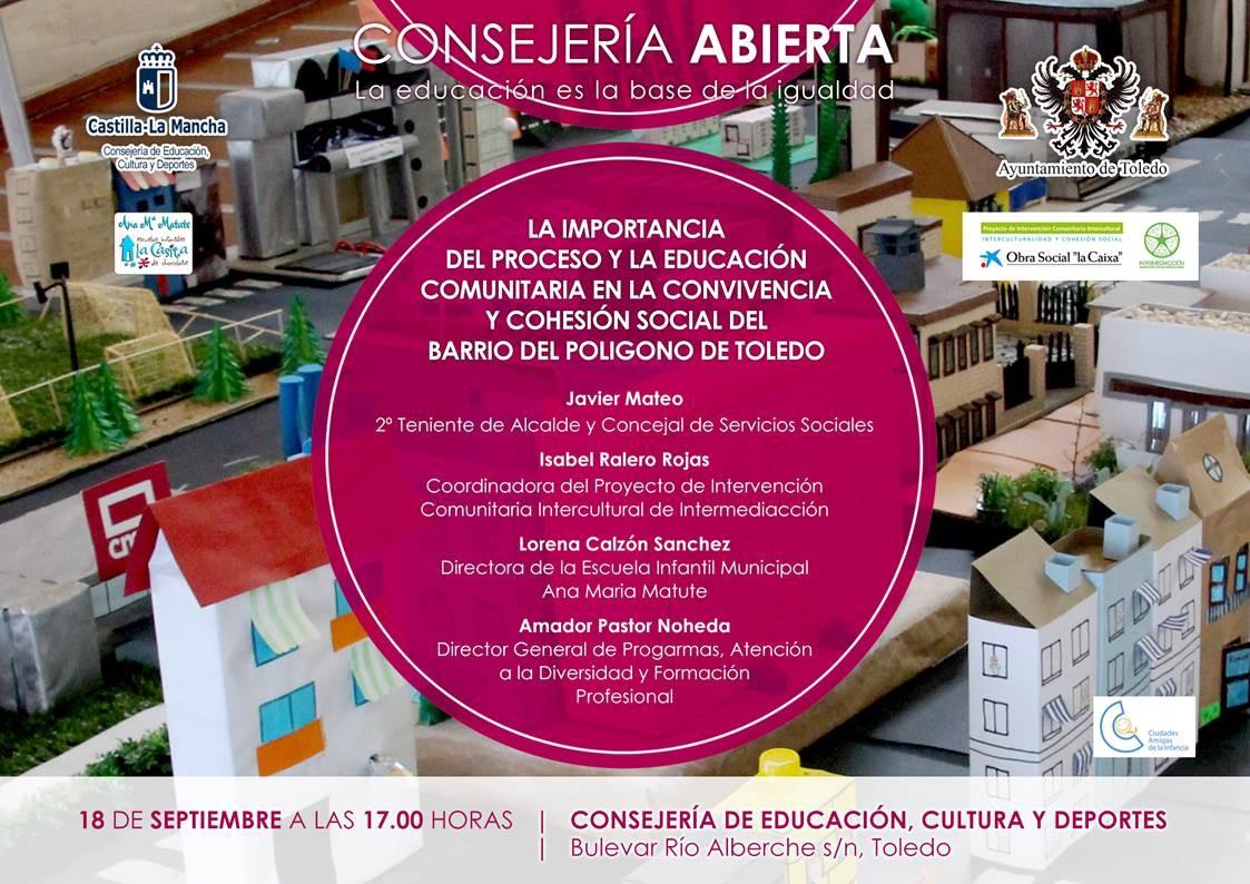 """Consejería Abierta:  """"LA IMPORTANCIA DEL PROCESO Y LA EDUCACIÓN COMUNITARIA EN LA CONVIVENCIA Y COHESIÓN SOCIAL DEL BARRIO DEL POLÍGONO DE TOLEDO"""""""