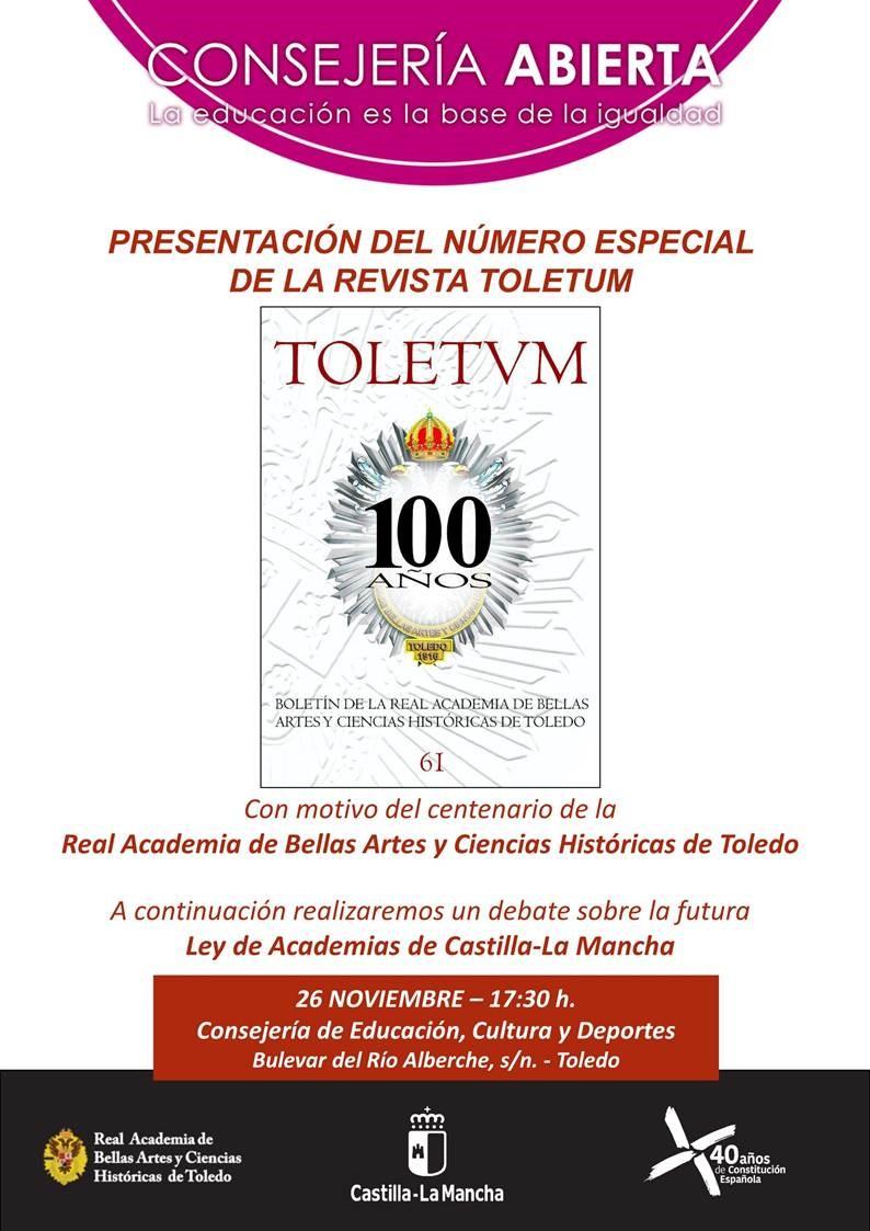 Consejería Abierta: presentación de la revista Toletum